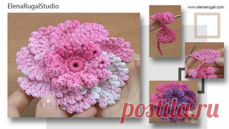 Вязаный объемный цветок в видео уроке крючком для начинающих | Студия Елены Ругаль Вязание | крючок 2,25 мм или 2 мм