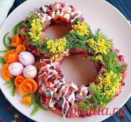 Mir_salatov в Instagram: «Салат 8 МАРТА НУ ООООоочень нежный и вкусный! Ингредиенты: Сельдь слабосоленая — 1 Штука Свекла — 1 Штука Морковь — 1 Штука Картофель — 1…»