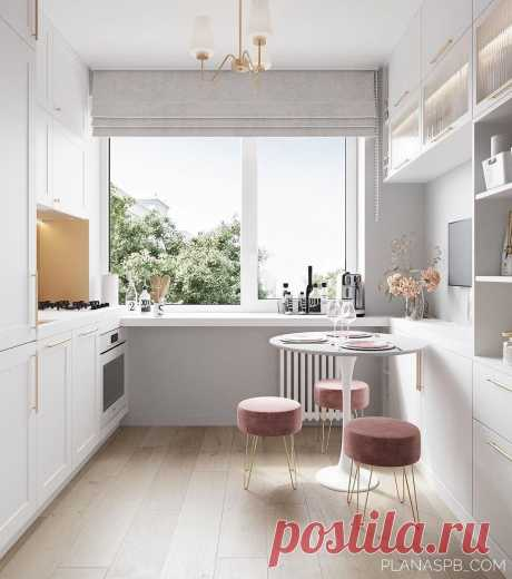 Кухня как в сказке на 5.8 кв.м. Красивая, нежная и уютная — изучаем особенности планировки | Mebel.ru | Яндекс Дзен