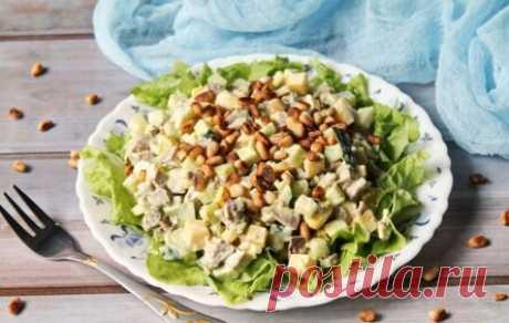 Салат с языком и кедровыми орешками