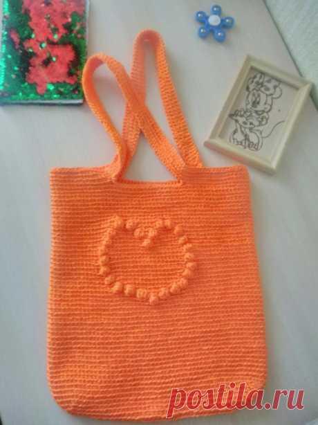 Оранжевая сумка шопер крючком
