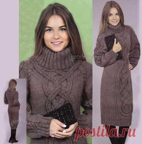 Очень теплое вязаное платье.