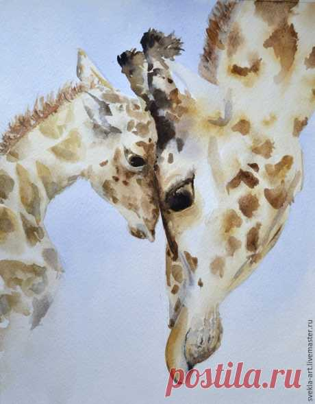 """Stage-by-stage creation of the water color picture \""""Giraffes\"""" – Fair of Masters"""