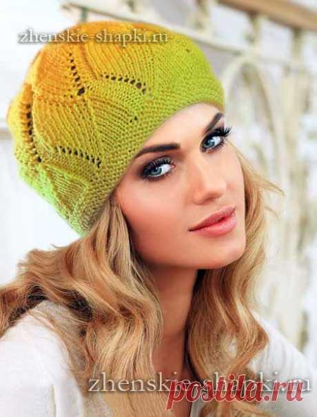 Описание вязаной женской шапки спицами схемы и фото модели