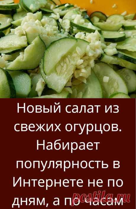 Новый салат из свежих огурцов. Набирает популярность в Интернете не по дням, а по часам