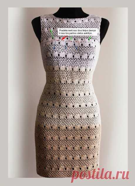Красивое платье крючком ажурным узором. Красивые вязаные платья крючком со схемами   Домоводство для всей семьи.