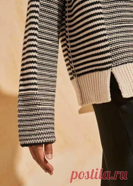 По мотивам тельняшки...Модный вязаный свитер на все случаи жизни