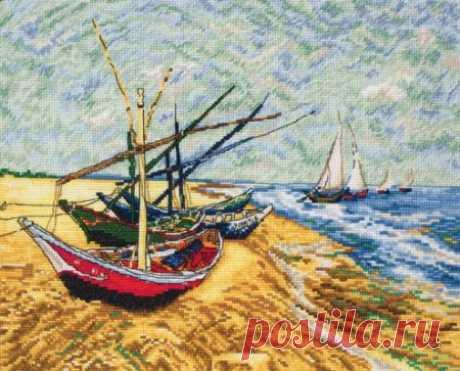 Яхты на берегу, схема вышивки крестом
