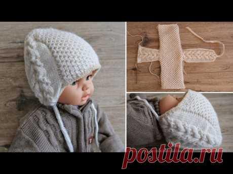 """Детская шапочка шлем «Медовые соты» спицами 🙃 Baby's hat beanie """"Honeycombs"""" knitting pattern"""