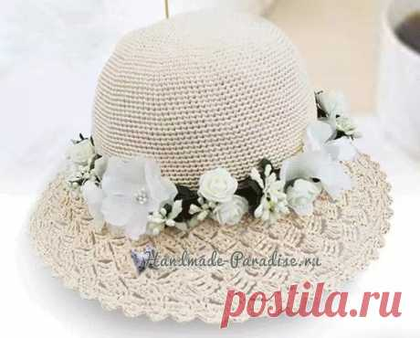 Летняя шляпка с ажурными полями. Крючком. Схемы. / handmade-paradise.ru