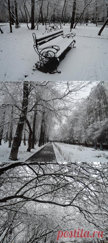 В Москве зима, теперь на лавочках не посидишь...