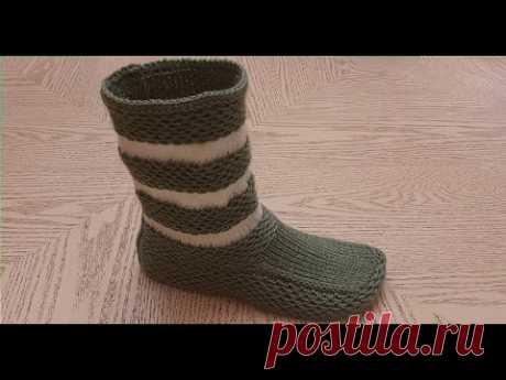Новинка 2020 : Простые  сапожки на двух спицах без единого шва!!! 2 часть / MODEL BOT PATİK YAPIMI