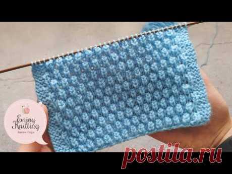 ШИКАРНЫЙ Объёмный Шахматный Узор спицами для шапки | Brioche honeycomb knitting stitch pattern