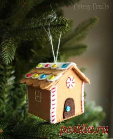 Ёлочные домики из фетра, плотной ткани — Делаем Руками