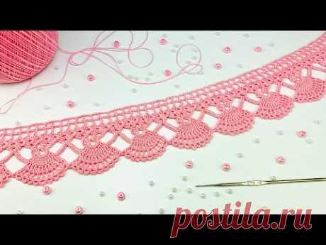 """Кружево """"Нежность"""" вязание крючком КАЙМА мастер-класс ЛЕНТОЧНОЕ КРУЖЕВО Crochet ribbon lace"""