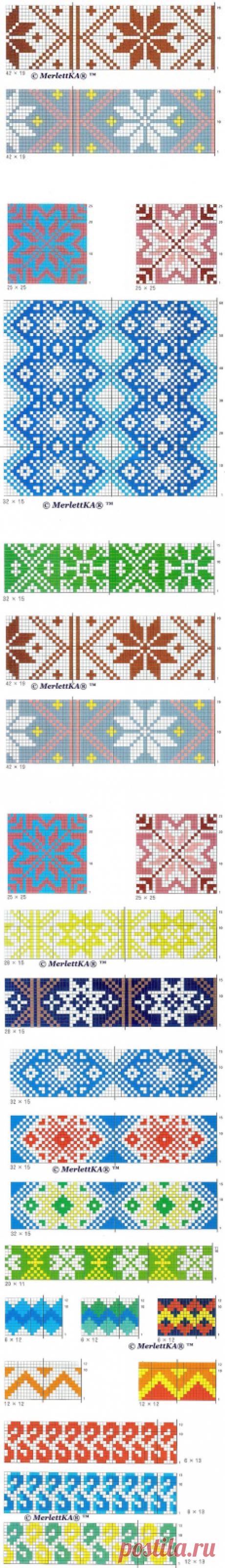 Жаккард мотивы для вязания и рукотворчества ( 66+73+86 штук )