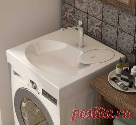 Как разместить стиральную машинку и раковину с экономией места