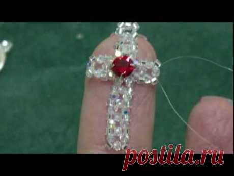 Beading4perfectionist: 2mm swarovski + miyuki cross. Earings or phone dangle tutorial
