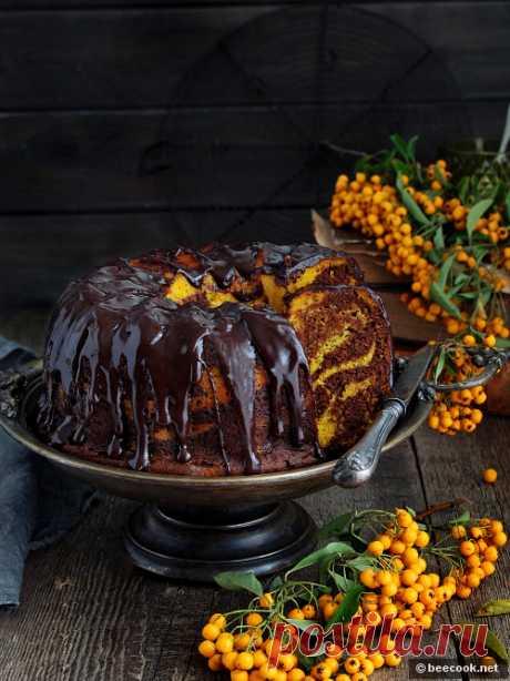Мраморный шоколадно-тыквенный кекс. Приготовление: Для шоколадного теста. Шоколад растопить с молоком на