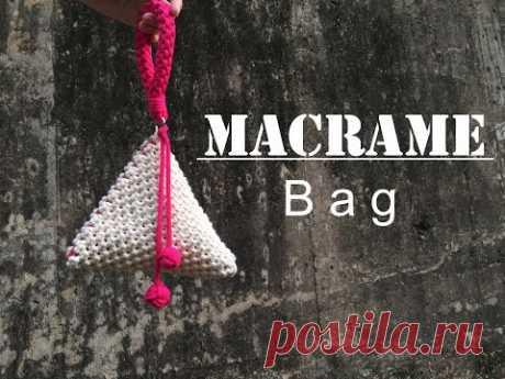 [Eng sub]마크라메 가방 / DIY Macrame Bag -#7 - YouTube хлопковый шнур 4мм 0 180см.х44; 8мм - 200см.х2;  одна сторона 20 см.; молния 26см.