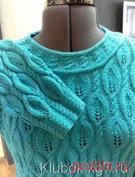 Узор для бирюзового пуловера спицами | Клубок