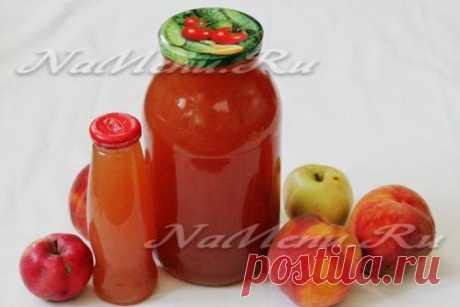 Фруктовый сок из персиков и яблок на зиму