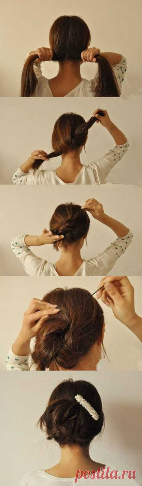 El manojo en dos nudos. 12 peinados simples originales en 3 minutos