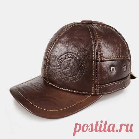 Men Genuine Leather Keep Warm Ear Protection Large Brim Windproof Baseball Hat - US$33.99