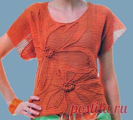 Оранжевая филейная кофта крючком Филейная кофта с большими объемными цветами. Схема вязания крючком