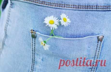 Простая, но крутая вышивка по джинсовой ткани: 20 классных идей Обновить джинсы, джинсовые шорты, рубашку, жилетку можно при помощи обыкновенной вышивки. Необязательно выбирать сложный узор или использовать трафарет: достаточно подобрать простой рисунок и вышить его по джинсовой ткани нитками понравившегося цвета.