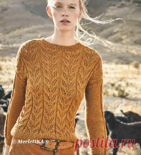 Пуловер спицами сузором «Листочки»