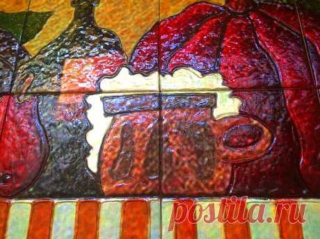 натюрморт фрукты, панно натюрморт фрукты, керамическое панно натюрморт фрукты, натюрморт фрукты вино, плитка ручной работы, керамическая плитка ручной работы
