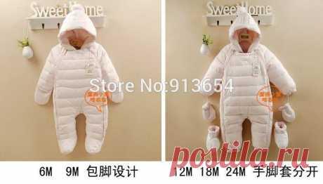 Новый 2014 осень зима ползунки детская одежда детская толщиной пуховик новорожденного мальчика хлопок Rompers девочка верхняя одежда комбинезон купить на AliExpress