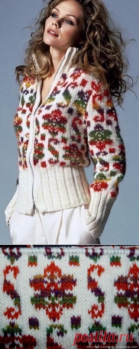 Жакет спицами с жаккардовым узором (Вязание спицами) — Журнал Вдохновение Рукодельницы
