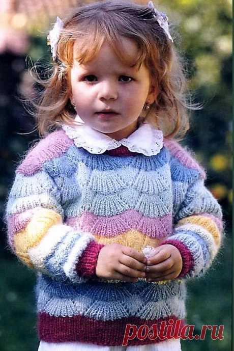 Пуловер «Радужное сияние»для девочки 2-3 года (Вязание спицами) | Журнал Вдохновение Рукодельницы