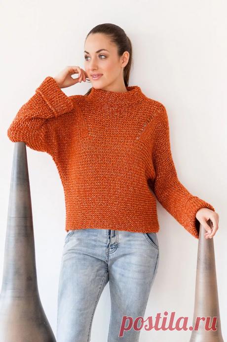 Пуловеры для осени связанные платочной вязкой со схемами и описанием. | Вяжем с Еленой Коротенко | Яндекс Дзен
