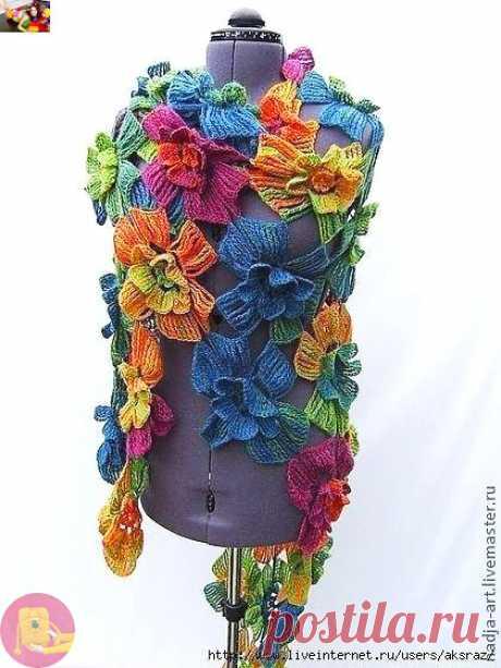 """Пошаговый мастер-класс: шикарная шаль """"Цветы"""" — Сделай сам, идеи для творчества - DIY Ideas CHAL DE FLORES"""