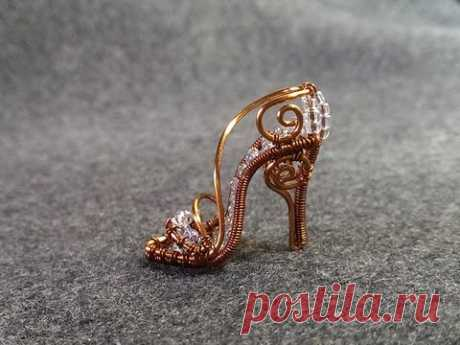 Tutorial wire mini shoe pendant - Cinderella shoe