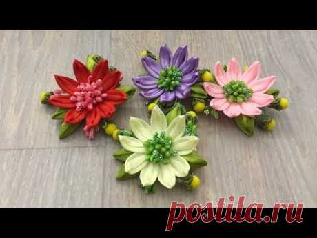 Supper simple ribbon flowers/Flor de cinta muy simple/До жути простой цветок из лент:)