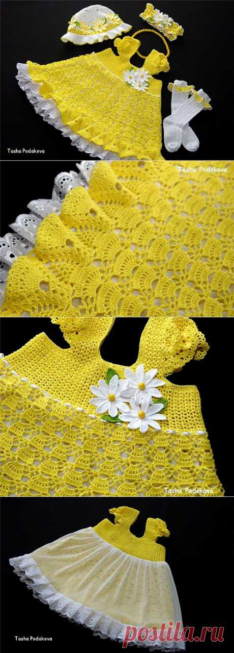 """Мамино Солнышко"".Платье set, Panamanian, povyazochka, socks.\u000d\u000ayarn of 100% PELICAN cotton (50 gr.\/330 m), hook No. 1"