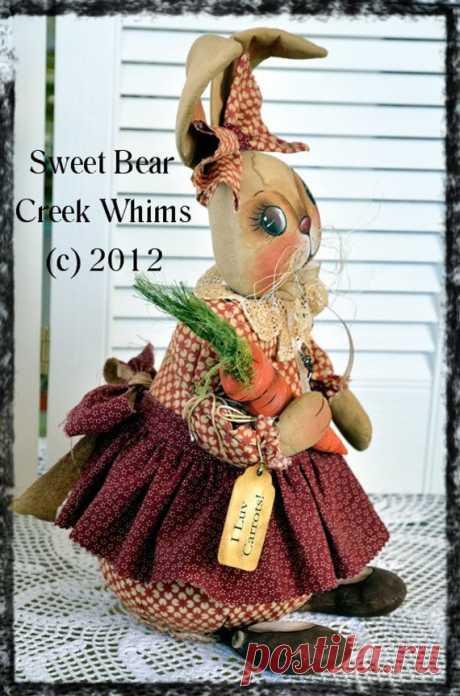 Primitive Bunny E-Pattern Spring Doll от SweetBearCreekWhims