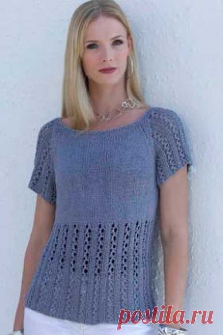 Top the Pacific Ocean the Simple top spokes for women executed from a summer bamboo yarn. Knitting of a top is carried out by a raglan from below, the lower part of details before...