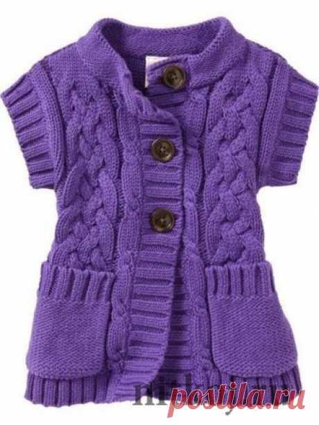 Детский жакет спицами с коротким рукавом » Ниткой - вязаные вещи для вашего дома, вязание крючком, вязание спицами, схемы вязания