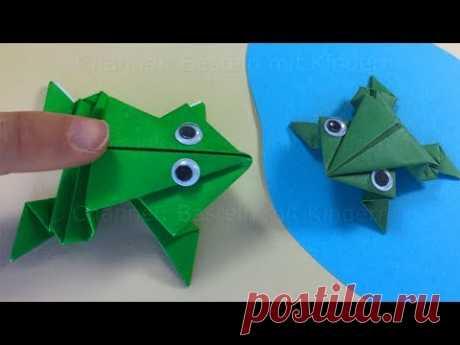 Оригами из бумаги. Оригами лягушка. ЛЯГУШКА попрыгушка. ПОДЕЛКИ ДЛЯ ДЕТЕЙ
