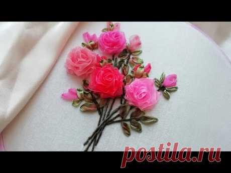 Вышивка лентами * Букет из роз * красивый дизайн для розы #malina_gm
