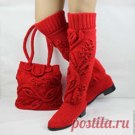 Очень красивая вязаная обувь!