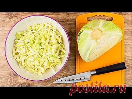 5 рецептов из капусты + эксперимент. Салаты из капусты. Быстрая маринованная капуста, квашеная капуста, гарнир из капусты, капуста в кляре.