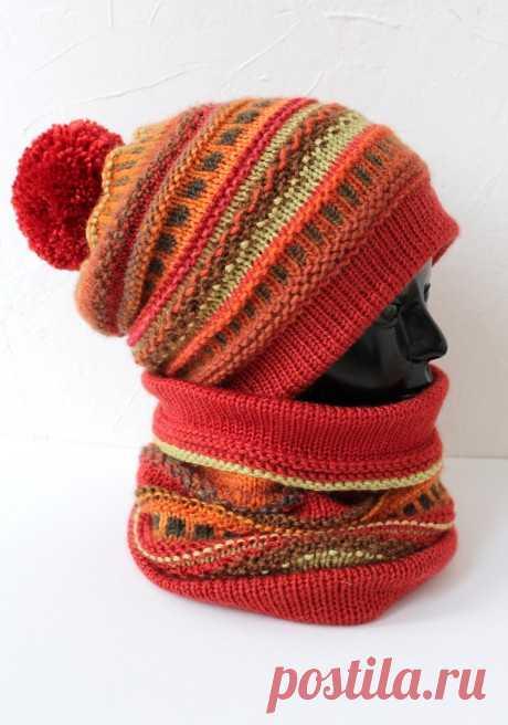 Комплект из шапки-бини и снуда, Вязание для женщин