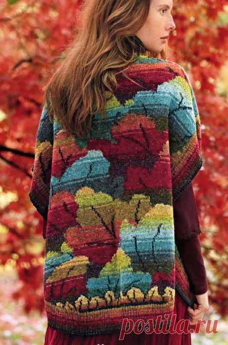 Жаккардовый кардиган с осенними листьями