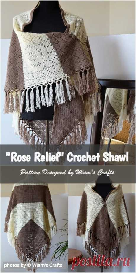 Easy Rose Relief Shawl Free Crochet Pattern